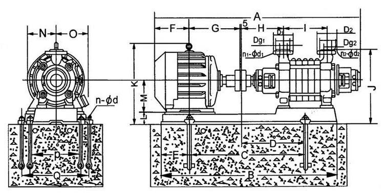 GC多級泵安裝尺寸圖