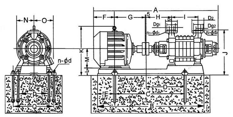 GC型鍋爐上水泵安裝尺寸