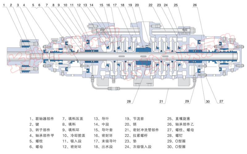自平衡多级泵结构图
