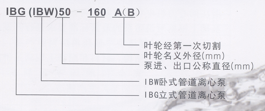IBG、IBW型單級沖壓離心泵型號說明