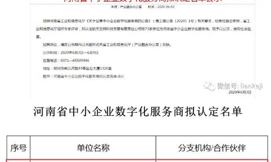 热烈祝贺力安科技被评选为河南省中小企业数字化服务商!
