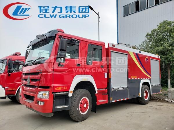 重汽豪沃8噸水罐消防車1