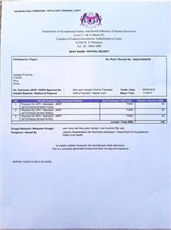 Certificate of authorization DOSH for Malaysia