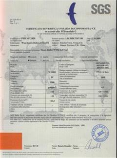 Certificate of authorization for EU CE-PED