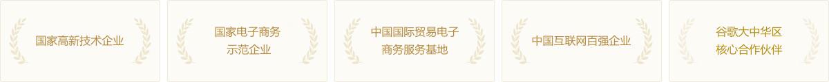国家高新技术企业;国家电子商务示范企业;中国国际贸易电子商务服务基地;中国互联网百强企业;谷歌大中华区核心合作伙伴