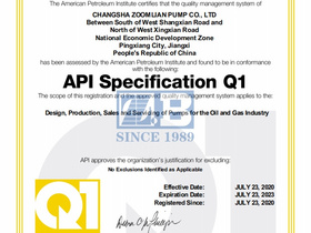 Zoomlian Pump successfully obtained API certification