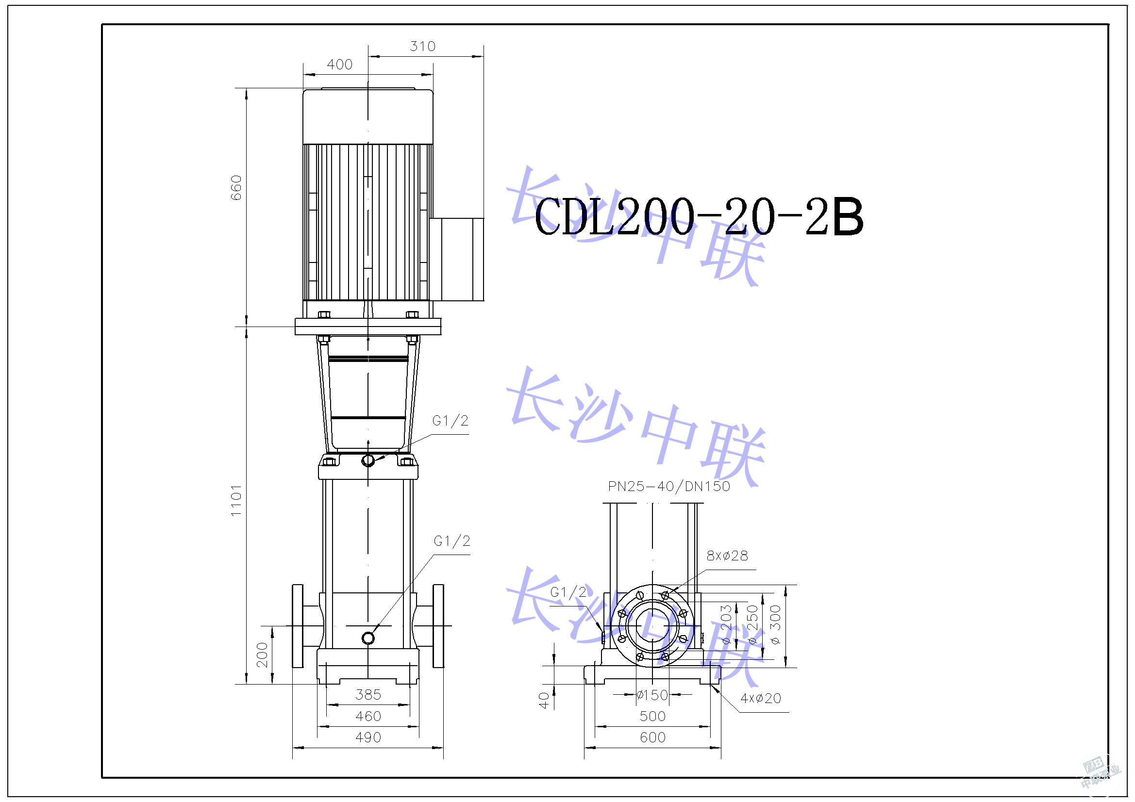 CDL200-20-2B multi-stage pump installation drawing