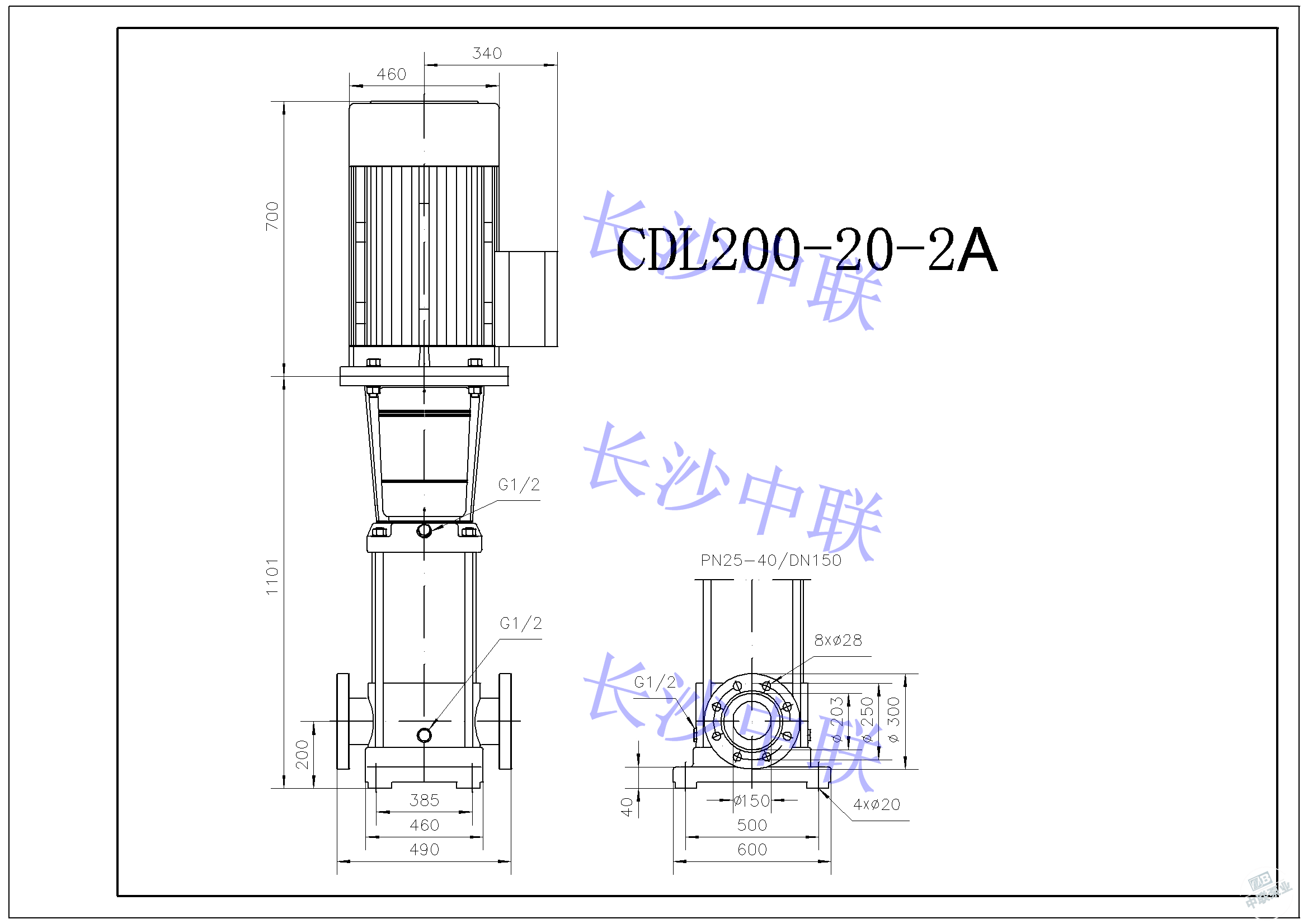 CDL200-20-2A multi-stage pump installation drawing