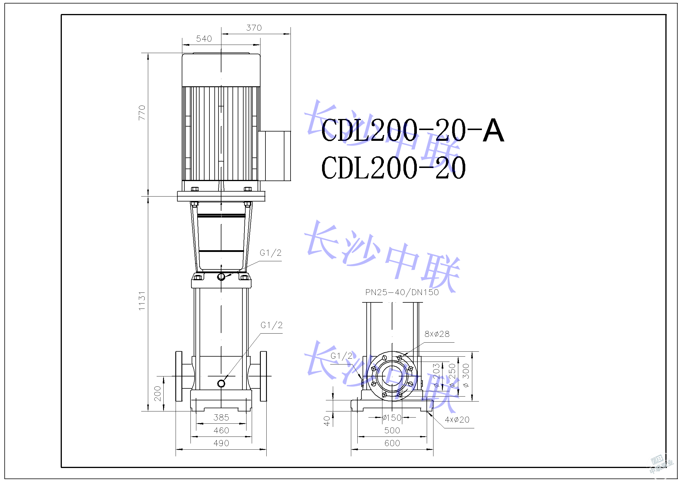 CDL200-20-A multi-stage pump installation drawing