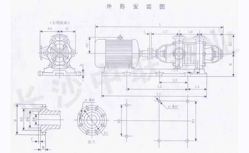 DG型次高压锅炉给水泵安装尺寸图