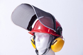 Construction Safety Helmet With Wire Mesh Face Shield