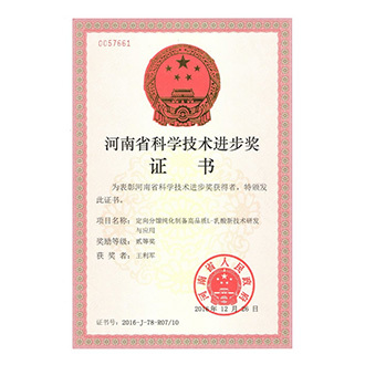 河南省科学技术进步奖二等奖证书