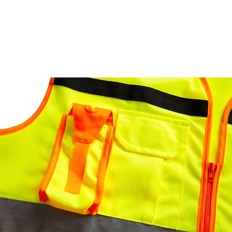 High Visibility Reflective Safety Fluorescent Orange Durable Multi Pockets Soft Mesh Multi-function Safety Vest