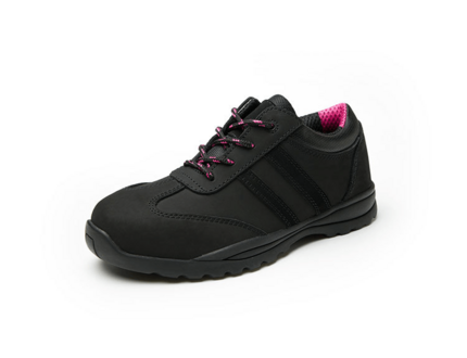 Hot selling black and pink leather women security shoes steel toe