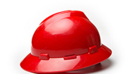 Red helmet over white background.