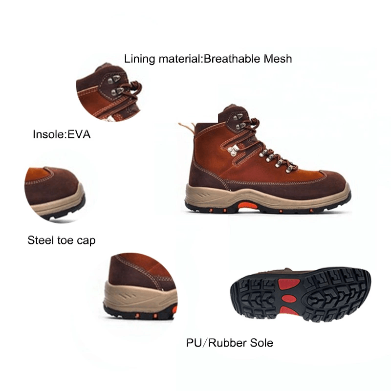 High quality anti-smashing men leather safety shoes