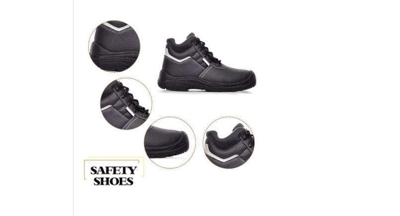High quality leather work boots steel toe cap, no lace leather safety boots work