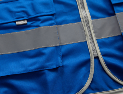 Blue color heavy duty airport reflective safety vest custom with transparent pocket