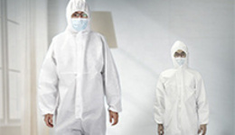 Nonwoven disposable protective clothing jumper with hood ...
