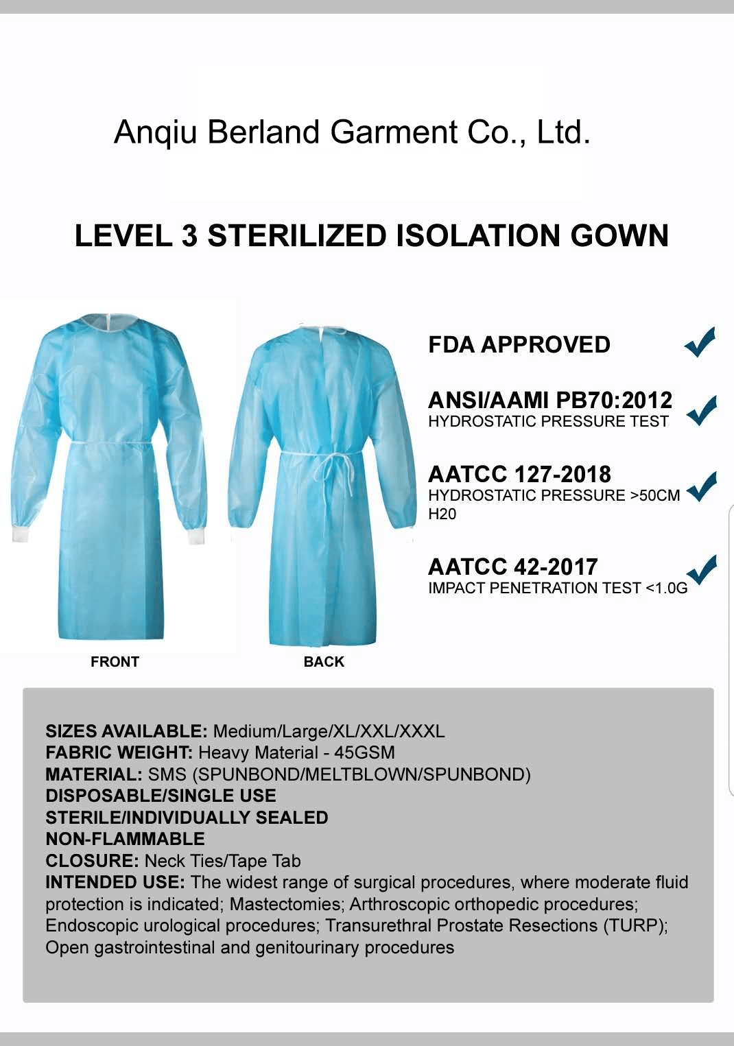 Cheap Disposable Non-woven Reinforced isolation Surgical Gowns