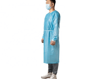 Disposable cpe apron gowns level 2 and and long sleeve with thumb loops