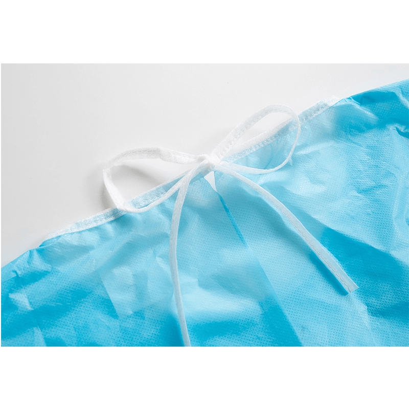 CE factory waterproof isolation gown disposable cpe blue plastic isolation gown