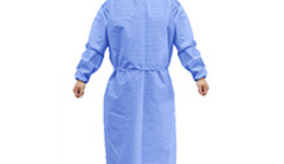 doctor in protective clothing on blue background. The girl ...