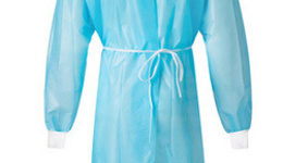 isolation gown with knitted cuff